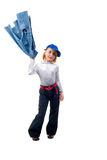 Modern Little Jeans Girl. Royalty Free Stock Photos
