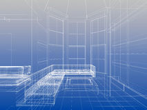 Modern living. Abstract wireframe interior of livingroom open space over blue gradient background Stock Photography