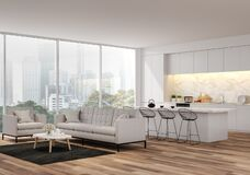 Free Modern Living, Dining Room And Kitchen With City View 3d Render Stock Image - 195439131