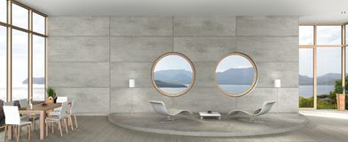 Modern living and dining room in avant-garde architecture. 3D rendering of avant-garde architecture living room with view to the sea vector illustration