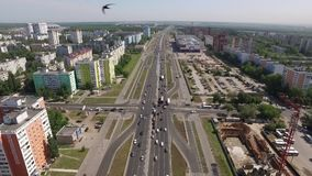 Modern living district in Samara city in Russia in daytime in summer, aerial view. Birds eye view stock video