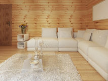 Modern living in a log interior with large white corner sofa. Stock Image