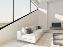 Modern living rom interior with white couch and angular window. Image of Modern living rom interior with white couch and angular window Royalty Free Stock Photography
