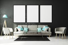 Modern living roo with empty billboard. Modern living room interior with empty billboard on concrete wall and furniture. Style and advertising concept. Mock up Stock Photos