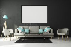 Modern living roo with empty poster. Modern living room interior with empty poster on concrete wall and furniture. Style and advertising concept. Mock up, 3D Royalty Free Stock Image