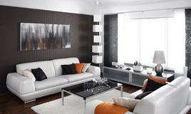 Modern living room. Living room with modern furniture stock photos