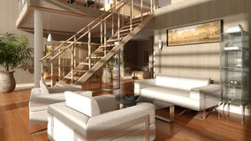 Modern Living Room. A high quality, High resolution render of a modern style living room Stock Images