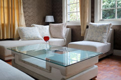 Modern living room. Detail of modern living room with table and sofa Royalty Free Stock Photos