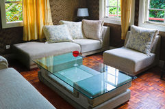 Modern living room. Detail of modern living room with table and sofa Royalty Free Stock Photography