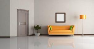 Modern living room. With orange couch and wooden door - rendering Stock Photos