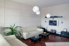 Modern Living Room. Partial view of a modern living room space royalty free stock photography