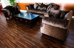 Modern living room. Bright modern interior Design with hard wood flooring Stock Images