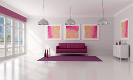 Modern living room. Purple and white contemporary  living room - rendering Stock Photo