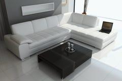 Modern living room. 3d render interior of modern living room stock illustration