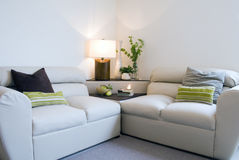 Modern living room. With withe sofas Stock Photos