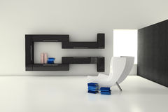 Modern living room. One 3d render of a modern living room stock illustration