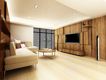 Modern living room. Design in 3D rendering Royalty Free Stock Photo