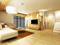 Modern living room. Design in 3D rendering Stock Images