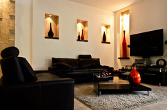 Modern Living room. With decoration Stock Photos