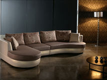 Modern Living Room. Contemporary Room with living furniture - sofa, lamp and coffee table Royalty Free Stock Photo