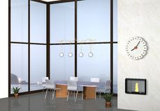Modern living room. 3d modern living room with sea background Royalty Free Stock Photography