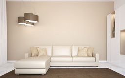 Modern living-room. Vektor Illustrationer