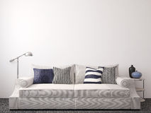 Modern living-room. Interior with couch near empty white wall. 3d render