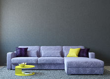 Modern living-room. Interior with couch near empty gray wall. 3d render. Photo on book cover was made by me Royalty Free Stock Photography