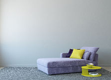 Modern living-room. Interior with couch near empty gray wall. 3d render. Photo on book cover was made by me stock illustration