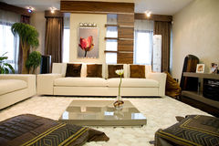 Modern living room. Luxury Modern living waiting room Royalty Free Stock Photo