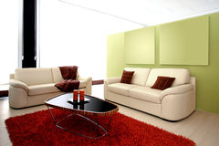 Modern living room. With two leather sofas Stock Photography