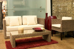 Modern living room. With sofas from rattan and arm chair stock image