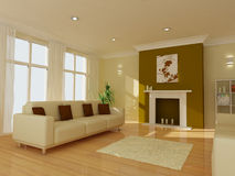 A modern living room. An image of a modern living room - 3D render Illustration Stock Images