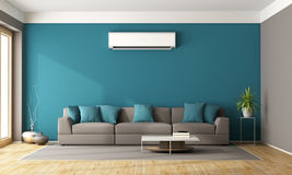 Modern living room with air conditioner Stock Photography