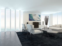 Modern Living Room in Apartment with Large Windows Royalty Free Stock Photo