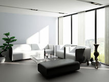 Modern Living Room | Architecture Interior. A 3d rendering of modern living room interior Royalty Free Stock Images