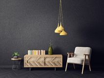Modern living room with armchair yellow lamp and black wall. scandinavian interior design furniture. 3d render illustration vector illustration
