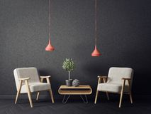 Modern living room with armchairs and black wall. scandinavian interior design furniture. 3d render illustration stock illustration