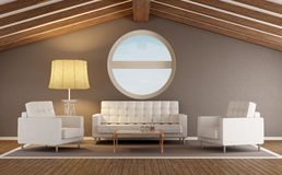 Modern living room in an attic Royalty Free Stock Photo