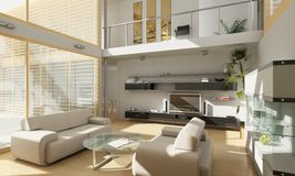 Modern living room and balcony Royalty Free Stock Photos