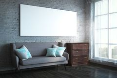 Modern living room with banner. Modern brick living room interior with empty banner, daylight, city view and furniture. Side view. Mock up, 3D Rendering royalty free stock photos