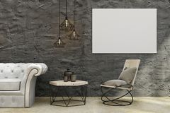 Modern living room with banner. Modern concrete living room interior with leather sofa, coffee table, decorative ceiling lamps and empty banner on wall. Mock up Royalty Free Stock Photography