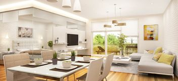 Modern living room and bedroom separated by glass. View from the kitchen stock photography