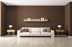 Modern living room with beige sofa 3d rendering Royalty Free Stock Images