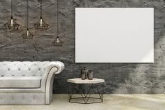 Modern living room with billboard. Modern concrete living room interior with leather sofa, coffee table, decorative ceiling lamps and empty billboard on wall Royalty Free Stock Images