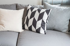 Modern living room with black abd white pillows. On sofa Royalty Free Stock Photography