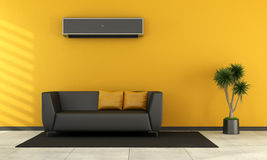 Modern living room with black couch Stock Image