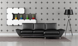 Modern living room with black sofa Royalty Free Stock Photos