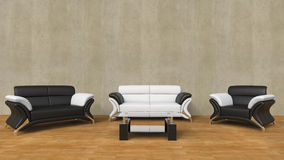 Modern living room with black and white furniture Royalty Free Stock Photography