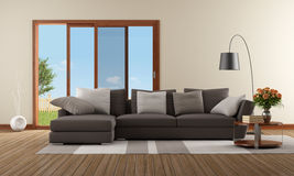 Modern living room with brown sofa Stock Photography